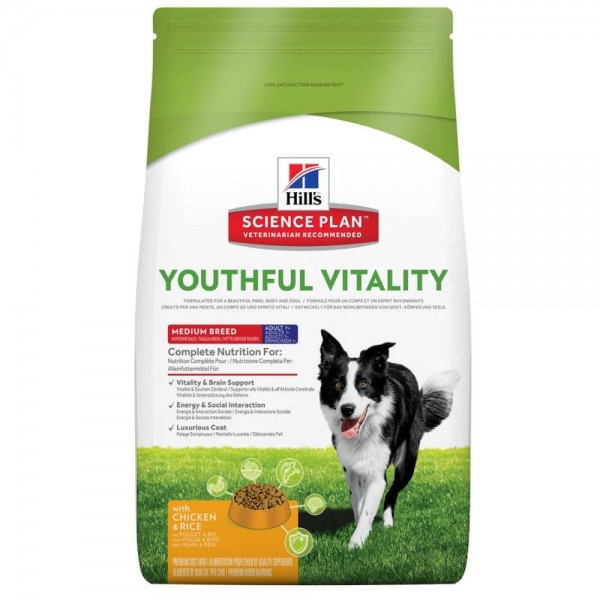 Hills Canine Adult 7+ Youthful Vitality Medium mit Huhn und Reis