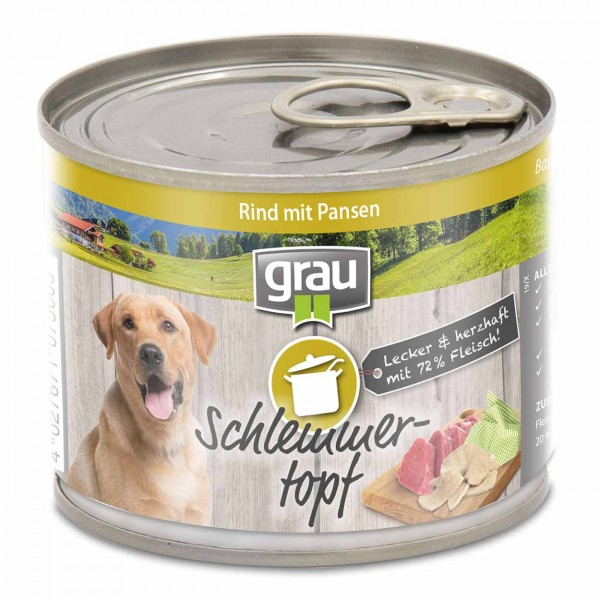 Grau Basic Dog Care Schlemmertopf Rind 6x200g