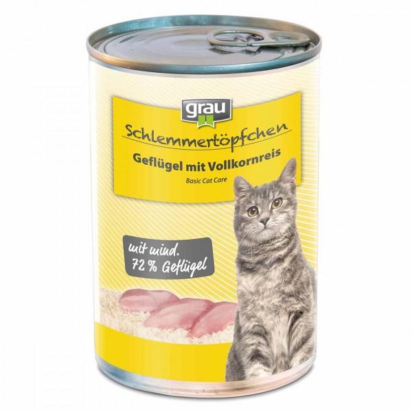 Grau Basic Cat Care Geflügel mit Vollkornreis