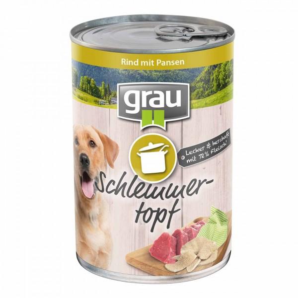 Grau Basic Dog Care Schlemmertopf Rind 6x400g