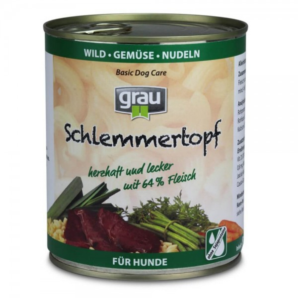 Grau Basic Dog Care Schlemmertopf Wild 6x800g