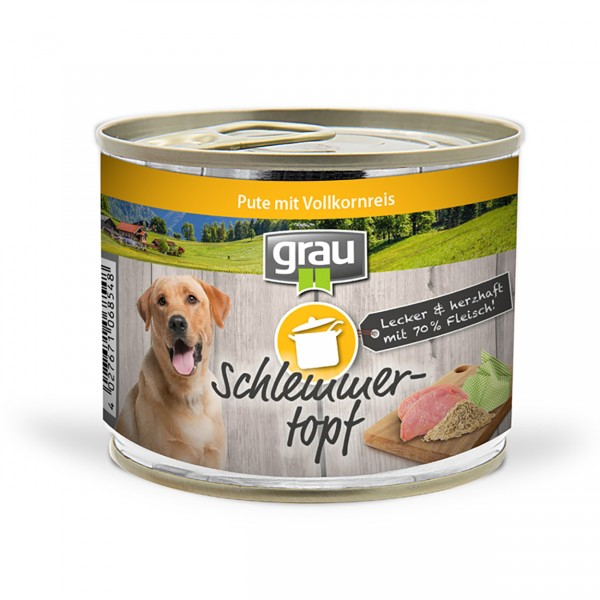 Grau Basic Dog Care Schlemmertopf Pute 6x200g